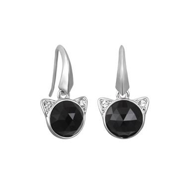 Karl Lagerfeld Silver Choupette Earrings  - Click to view larger image
