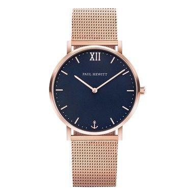Paul Hewitt Sailor Line Blue + Rose Gold Mesh Watch  - Click to view larger image