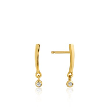 Ania Haie Gold Shimmer Bar Stud Earrings  - Click to view larger image