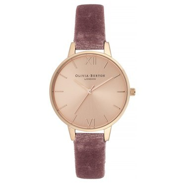 Olivia Burton Demi Rose Velvet & Rose Gold Watch  - Click to view larger image