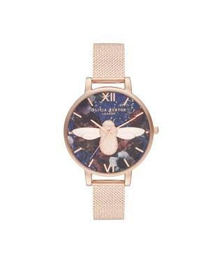 Olivia Burton Rose Gold 3D Bee Lapis Lazuli Watch  - Click to view larger image