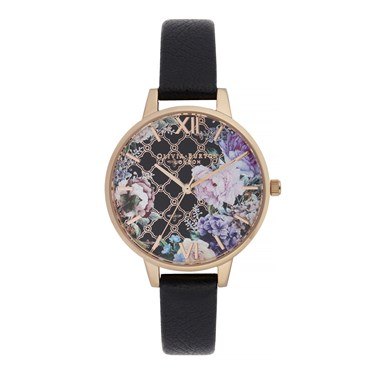 Olivia Burton Glasshouse Black & Rose Gold Watch  - Click to view larger image
