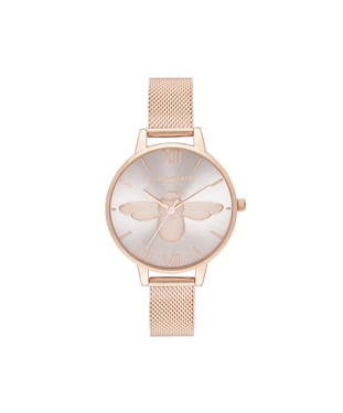 Olivia Burton Blush & Rose Gold 3D Bee Mesh Watch  - Click to view larger image