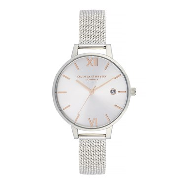Olivia Burton Rose Gold & Silver Mesh Boucle Watch  - Click to view larger image