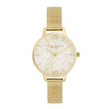 Olivia Burton Gold Glitter Boucle Mesh Watch  - Click to view larger image