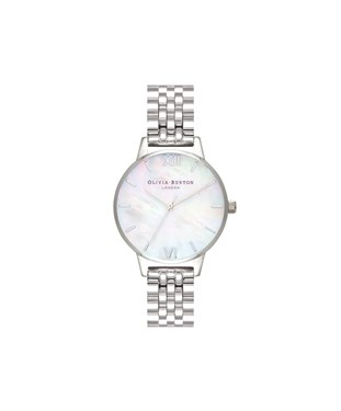 Olivia Burton Mother of Pearl Silver Bracelet Watch  - Click to view larger image
