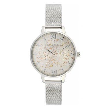 Olivia Burton Silver Glitter Boucle Mesh Watch  - Click to view larger image