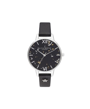 Olivia Burton Celestial Black & Silver Star Watch  - Click to view larger image