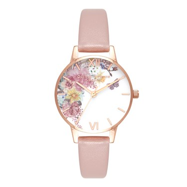 Olivia Burton Enchanted Garden Vegan Rose Sand Watch  - Click to view larger image