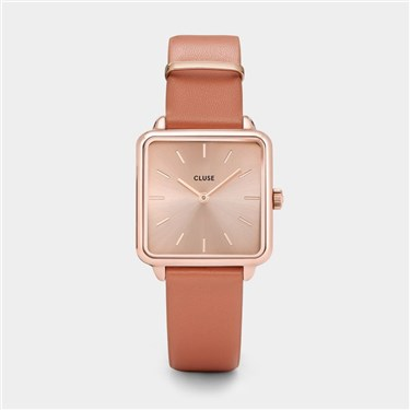 CLUSE La Tetragone Rose Gold & Tan Watch  - Click to view larger image