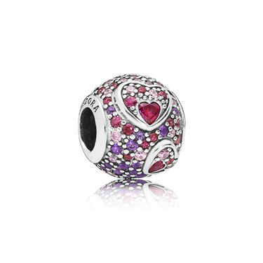 Pandora Asymmetric Hearts of Love Charm  - Click to view larger image