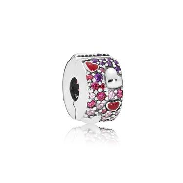 Pandora Asymmetric Hearts of Love Spacer Clip  - Click to view larger image