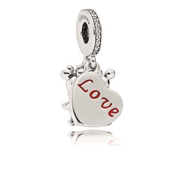 Pandora Disney Mickey and Minnie with Love Pendant Charm  - Click to view larger image