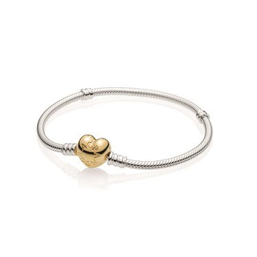 PANDORA Moments Silver Shine Heart Clasp Bracelet  - Click to view larger image