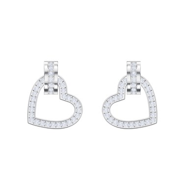 Swarovski Lovely Silver Heart Earrings  - Click to view larger image