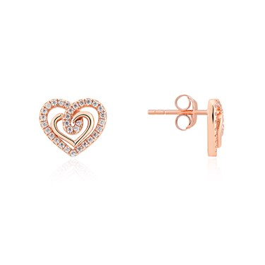 Argento Rose Gold Crystal Heart Stud Earrings  - Click to view larger image