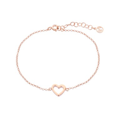 Argento Rose Gold Open Heart Bracelet  - Click to view larger image