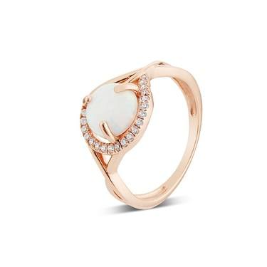 Argento Rose Gold Opal Twist Ring  - Click to view larger image