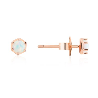 Argento Rose Gold White Opal Earrings  - Click to view larger image