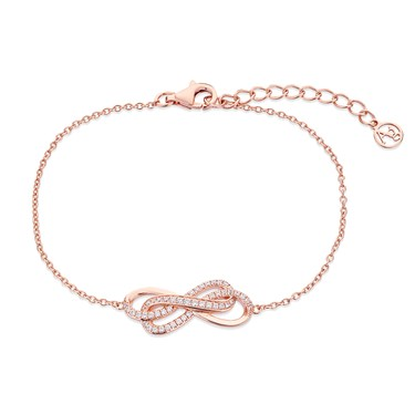 Argento Rose Gold Infinity Crystal Stud Bracelet  - Click to view larger image