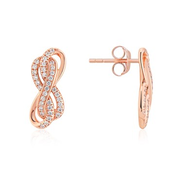 Argento Rose Gold Infinity Crystal Stud Earrings  - Click to view larger image