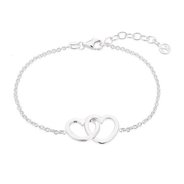 Argento Silver Interlinking Heart Bracelet  - Click to view larger image