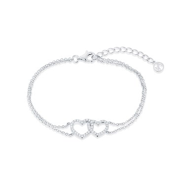 Argento Silver Crystal Double Heart Bracelet  - Click to view larger image