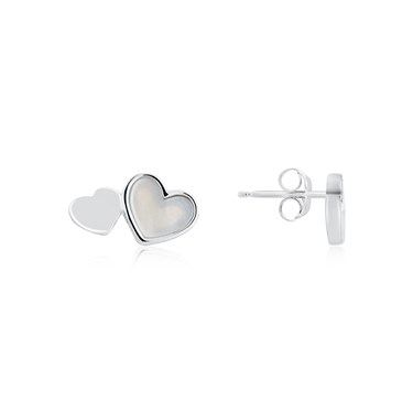 Argento Mother of Pearl Silver Heart Stud Earrings  - Click to view larger image