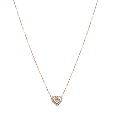 Argento Rose Gold Crystal Heart Necklace  - Click to view larger image
