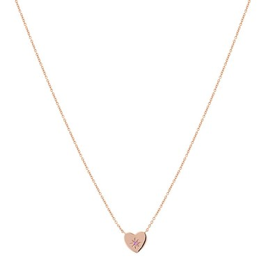Argento Rose Gold + Pink Heart Necklace  - Click to view larger image