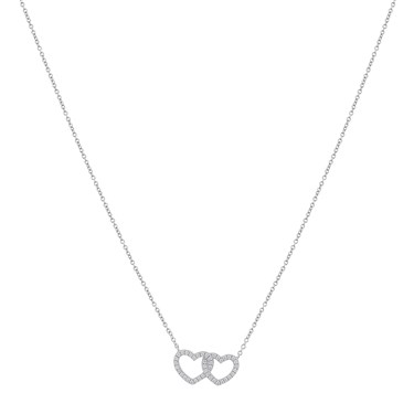 Argento Silver Crystal Double Heart Necklace  - Click to view larger image