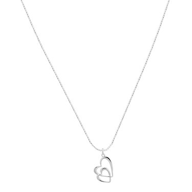 Argento Silver Linked Heart Necklace  - Click to view larger image