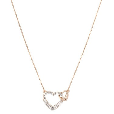 August Woods Rose Gold Crystal Heart Necklace  - Click to view larger image