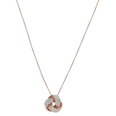 August Woods Rose Gold Crystal Knot Necklace  - Click to view larger image