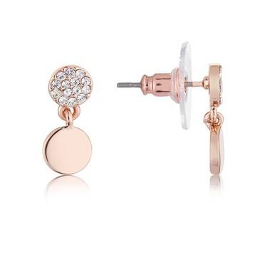 August Woods Rose Gold Crystal Coin Earrings  - Click to view larger image