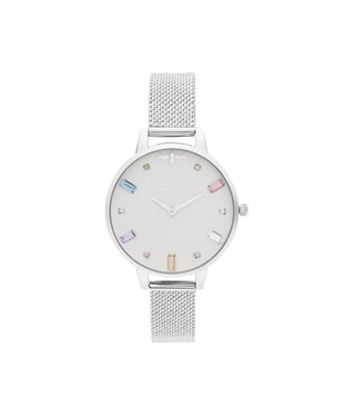 Olivia Burton Rainbow Bee Silver Boucle Mesh Watch  - Click to view larger image