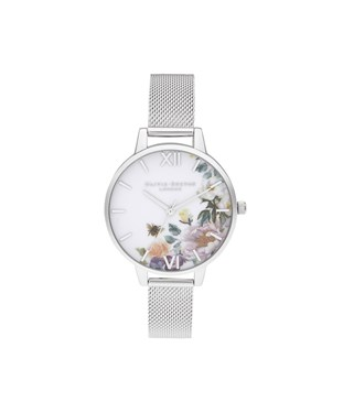 Olivia Burton Enchanted Garden Silver Mesh Watch  - Click to view larger image
