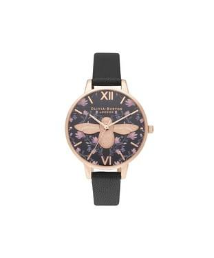 Olivia Burton Meant To Bee Black + Rose Gold Watch  - Click to view larger image