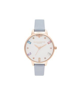 Olivia Burton Rainbow Bee Chalk Blue + Rose Gold Watch  - Click to view larger image
