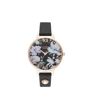 Olivia Burton Bejewelled Floral Embellished Black Watch  - Click to view larger image