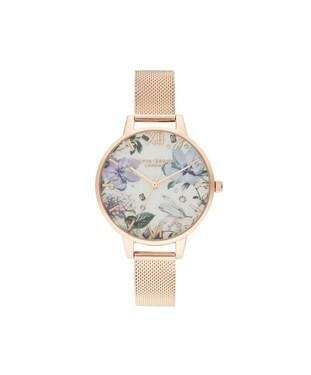 Olivia Burton Bejewelled Floral Rose Gold Mesh Watch  - Click to view larger image