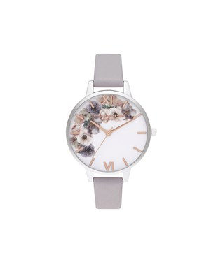Olivia Burton Watercolour Flower Silver Watch  - Click to view larger image