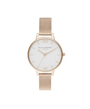 Olivia Burton Demi White Dial Pale Rose Gold Mesh Watch  - Click to view larger image