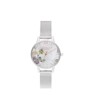 Olivia Burton Wishing Silver Mesh Watch  - Click to view larger image