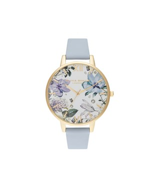 Olivia Burton Bejewelled Floral Chalk Blue + Gold Watch  - Click to view larger image