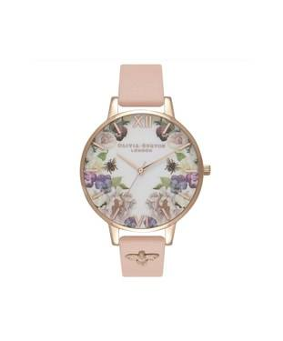 Olivia Burton Embellished Bee Pink + Rose Gold Watch  - Click to view larger image