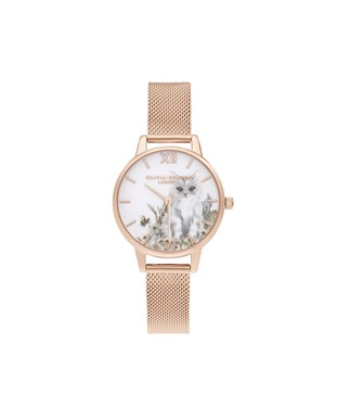 Olivia Burton Illustrated Cat Rose Gold Mesh Watch  - Click to view larger image
