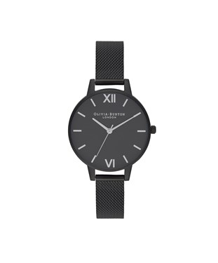 Olivia Burton Silver & Matte Black Mesh Watch  - Click to view larger image