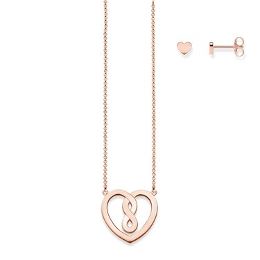 Thomas Sabo Valentine Rose Gold Infinity Heart Set  - Click to view larger image