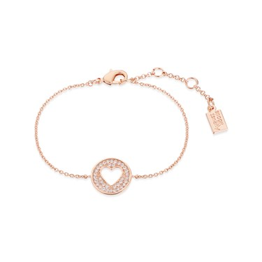 August Woods Rose Gold Heart Coin Bracelet  - Click to view larger image